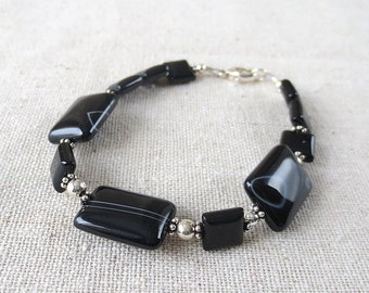 B15 Beautiful Banded Onyx Bracelet  in Solid Sterling Silver