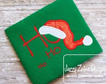 Ho Ho Ho with Santa Hat Applique embroidery design - Santa hat appliqué design - saying appliqué design - christmas appliqué design
