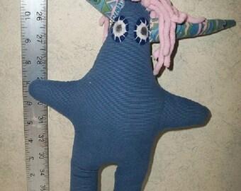 Blue Corduroy Plush Monster Toy