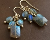 """Smoky Blue Green Faceted Labradorite """"Flash"""" 14K Gold Fill Wire Wrapped Dangle Earrings with French Ear Wires"""