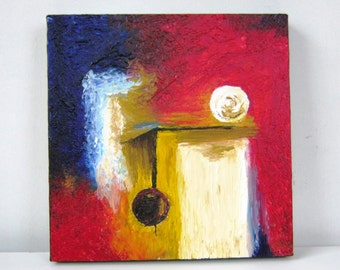 Door to the Future, Original Painting, Acrylic on Canvas, 12' x 12' (30 cm x 30 cm)