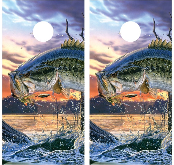 Bass jumping fishing cornhole decal wrap for Bass fishing pictures