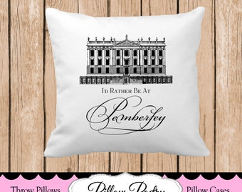 I'd Rather be at Pemberly Throw Pillow, Choose Colors, Personalized Pillow, Custom Throw Pillow