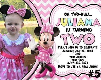 20 Minnie Mouse Birthday Invitations, PRINTED Birthday Party invites  Pink Chevron - 20 or more  with Photo / Incude envelopes. Pink, Zebra