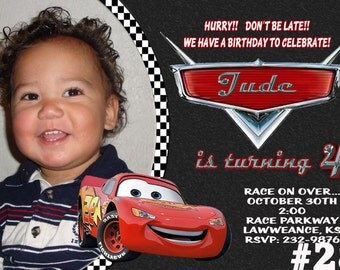 20 Disney Cars Birthday Invitations PRINTED / 20 or More Birthday Party invites (includes envelopes)