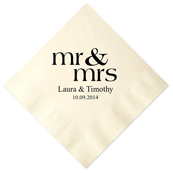 100 Personalized Mr & Mrs Mr And Mrs Wedding Napkins Custom