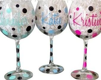 Personalized Wine Glass w/ Polka Dots
