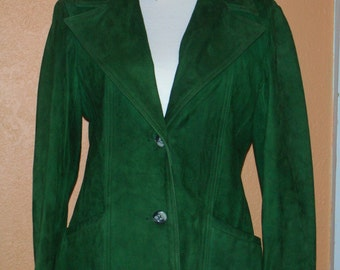 1970's Sea Foam Suede Jacket Size 10 with original tags by New England Sports Wear Company