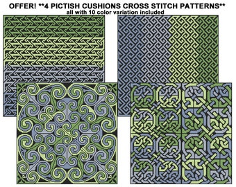 4 Patterns Pictish Cushions for Cross Stitch - Special offer!