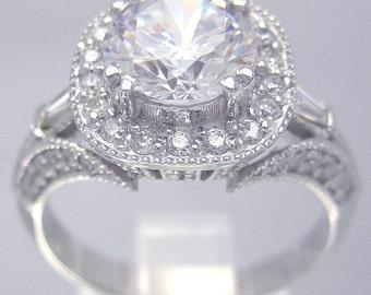 18k white gold rounds cut diamond engagement ring antique style 2.00ctw H-VS2 egl usa