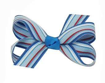 Stripped bow,  Blue hair bow clip, Jacquard ribbon bow for girls, blue jacquard bow