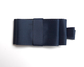 Navy Blue double bow,  Baby Hair Clippie, wide navy clippy, navy blue clippie