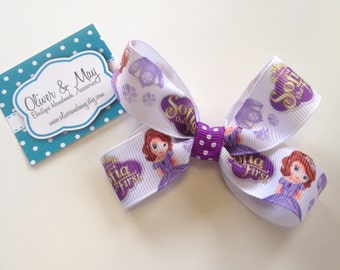 Princess Sofia Big Hair Bow Clips with non slip grip strips