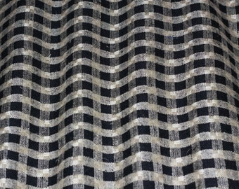 "Cream & Black Checks Woven 100% Matka Raw Silk, 54"" Wide, By the Yard (WT-412A)"