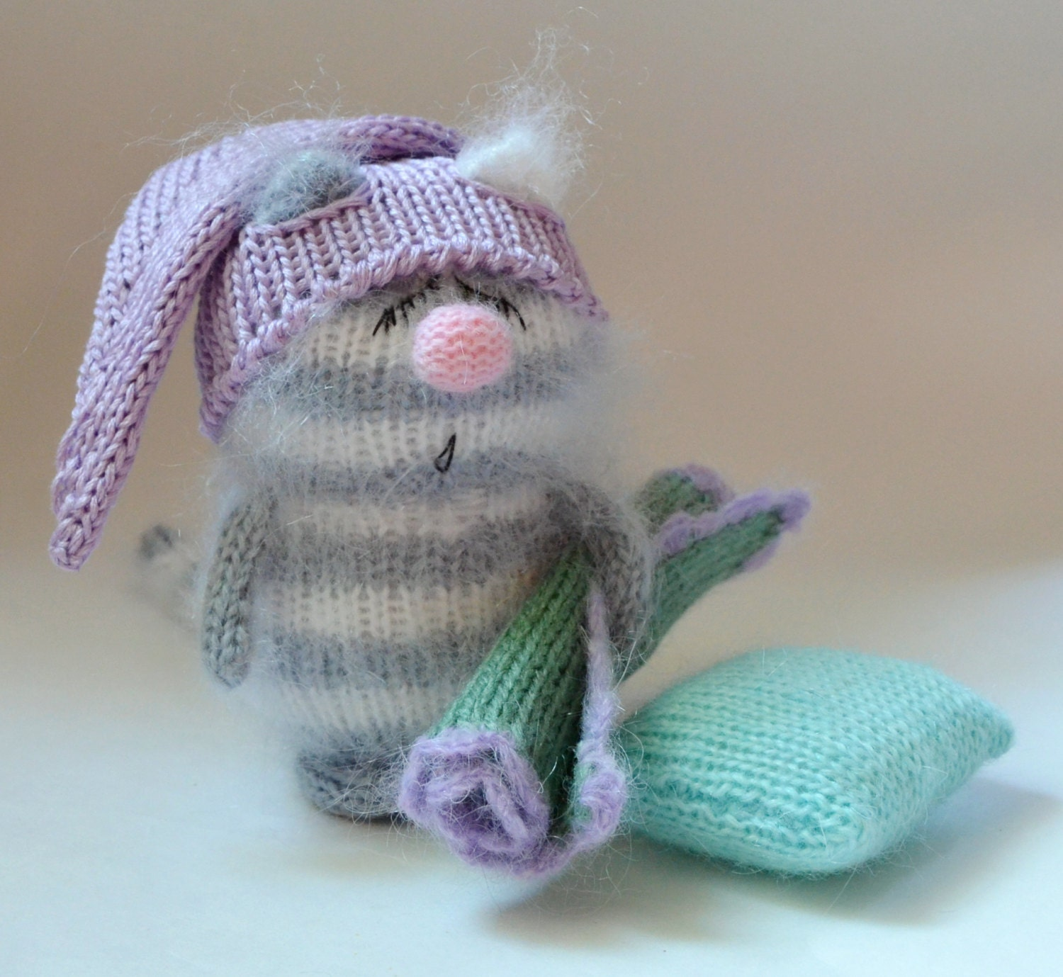 Snoozy Grey Cat with Blanket & Pillow Hand-knitted Toy