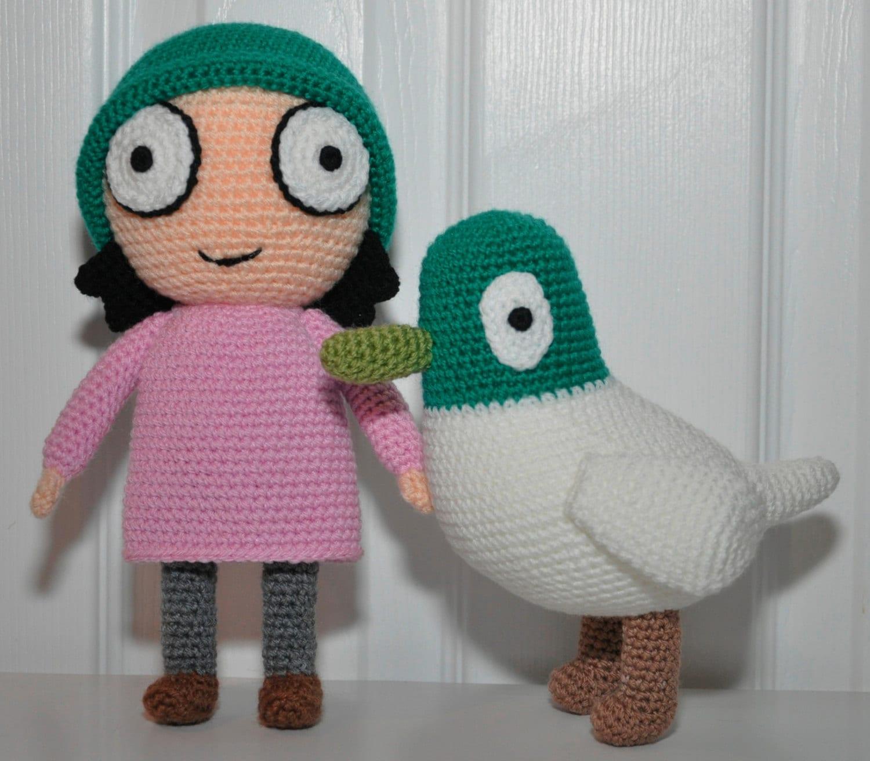 Amigurumi Crochet Doll Sarah & Duck Soft Toys Pdf Pattern
