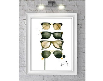Ray Bans, Print from Original Watercolor Painting, Home Decor, Sunglasses
