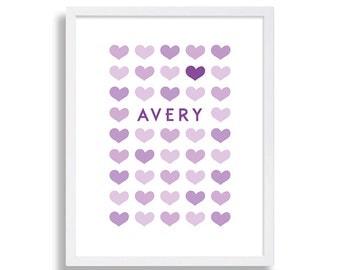 11x14 Nursery Prints Customized Nursery Decor Baby Room Art Baby Shower Gift Nursery Ideas Nursery Print Love Hearts Nursery Purple Nursery