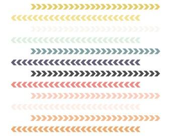 Chevron Arrow Borders // Tribal Borders // Instant Download Digital Clip Art // Digital Chevron Borders // Pink Digital Border