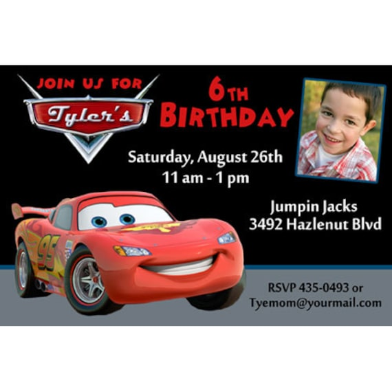 Disney Cars Inspired Birthday Party Invitations By