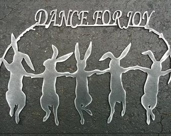 Bunnies Dance For Joy Metal Art