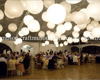 "Perfect 40 Paper Lantern Led Set Chinese Round White Paper Lanterns 6"" 8"" 10"" 12"" 14"" 16"" 18"" Wedding Party Floral Event Sky Decoration"