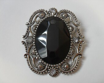 FREE SHIPPING - (50% off New Year special) HUGE rare black stone antique brooch
