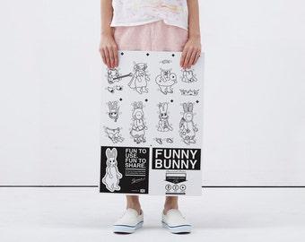 FUNNY BUNNY Anziehpuppe / Poster zum Malen, Schneiden, Spielen / A2 gefaltet