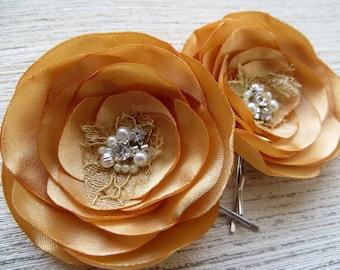 Gold bridal wedding hair flowers (2 pcs), bridal hairpiece, bridal hair clips, wedding hair accessories, bridal hair flower, READY TO SHIP