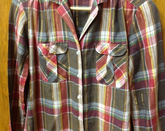 vintage womens plaid western button up shirt with gold thread soft gold threaded button up