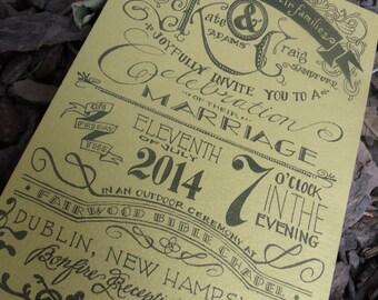 Custom Hand Lettered Wedding Invitation Postcard Design Fee