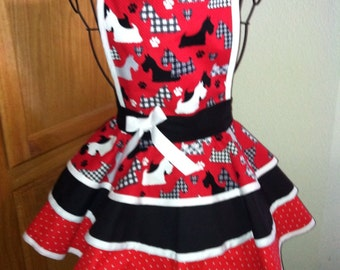 Girls Adorable Scottie apron lg