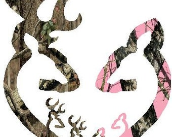 "6""  Browning style camo and pink camo heart shaped with 2 baby bucks and 2 baby does decal sticker deer buck"