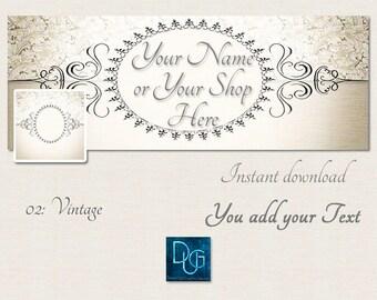 Instant Download, Facebook Cover, Facebook Banner, Facebook Timeline PROVENCAL Vintage SHABBY CHIC   Design 02