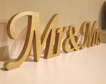 Glitter Mr & Mrs wedding letters. Mr and Mrs Wood Wedding Decoration. Glitter Mr and Mrs signs