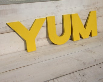 YUM sign,Yum kitchen sign, wood sign eat - vintage decor-big letters, big wood sign - bar or restaurant decor