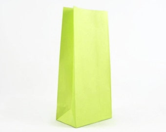 GREEN PAPER BAGS (Set of 12 Stand Up Bags) - Green Paper Bag (22cm x 10cm)