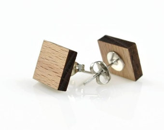 SQUARE WOOD CUTOUT -  Square Laser Cut Natural Wood Cut-out With Free Earring Backing (1.1cm x 1.1cm)