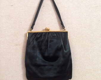 Vintage Black Satin Evening Purse
