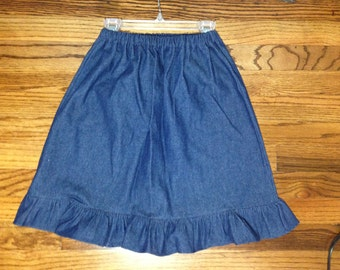 Girls skirt with ruffle Elastic waist  Blue Denim