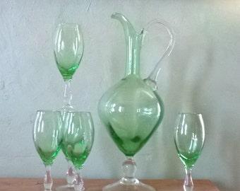 Vintage Wine Glass Carafe Set with 5 Stemmed Glasses in Spring Green/Decanter/Barware/Wine Pitcher Set/Liqueur Service/Homemade Wine