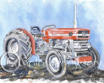 MASSEY FERGUSON 135 Tractor Art Print Of Original Watercolour Painting from Scottish Artist.