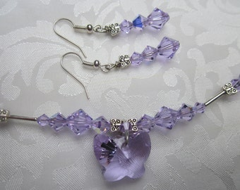 Swarovski Violet Butterfly pendant necklace and earrings