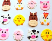 12 Fondant Edible Farm, Barn, Pond Animal Cupcake Toppers