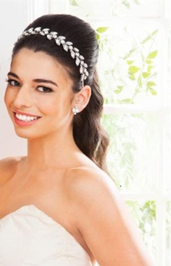 Headpiece ,Tiara ,Bridal Crown, Rhinestone Leaf Headband,  Bridal Headband, Wedding Headpiece, Hair accessory,  BONA DEA Crown