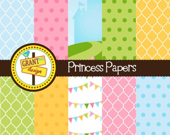 Princess Digital Papers - Backgrounds for Invitations, Card Design, Scrapbooking, and Web Design