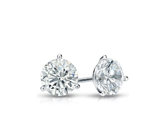 14k Gold 3-Prong Martini Round Diamond Stud Earrings 0.33 ct. tw. (H-I, I1)