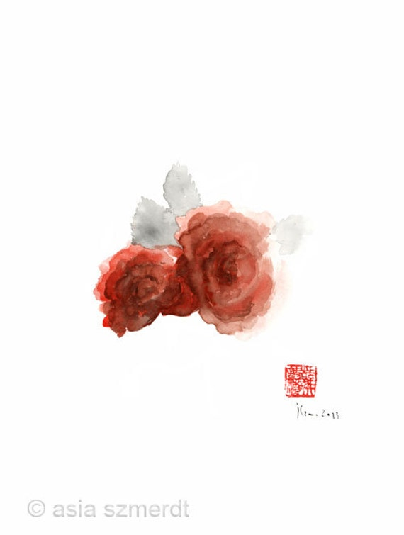 Red Rose Roses Flower aromatherapy scet parfums orange grey GICLEE fine art print of watercolor PAINTING