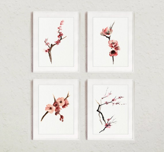 tree with flowers painting set of 4 cherry blossom watercolor painting pink tree art