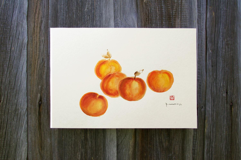 Kitchen Wall Decor Orange : Peaches and cream kitchen wall decor orange by colorwatercolor